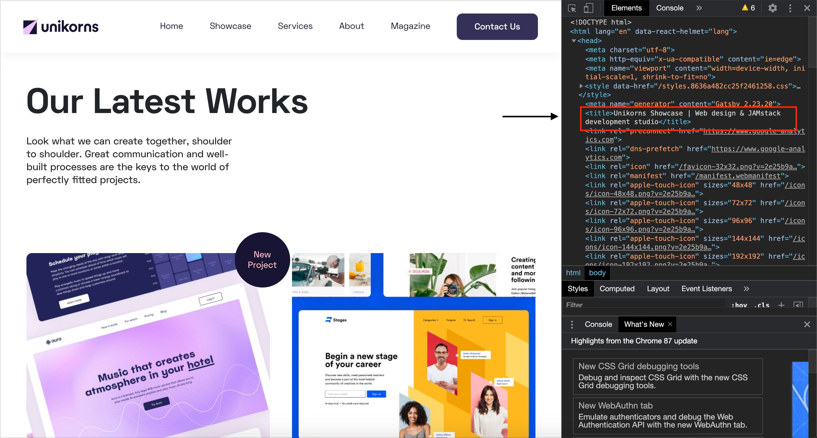 Screenshot that represents title HTML Showcase