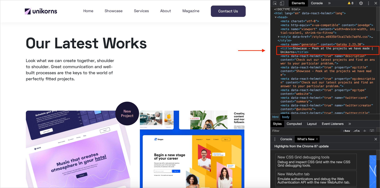 Screenshot that represents Unikorns website HTML Titles