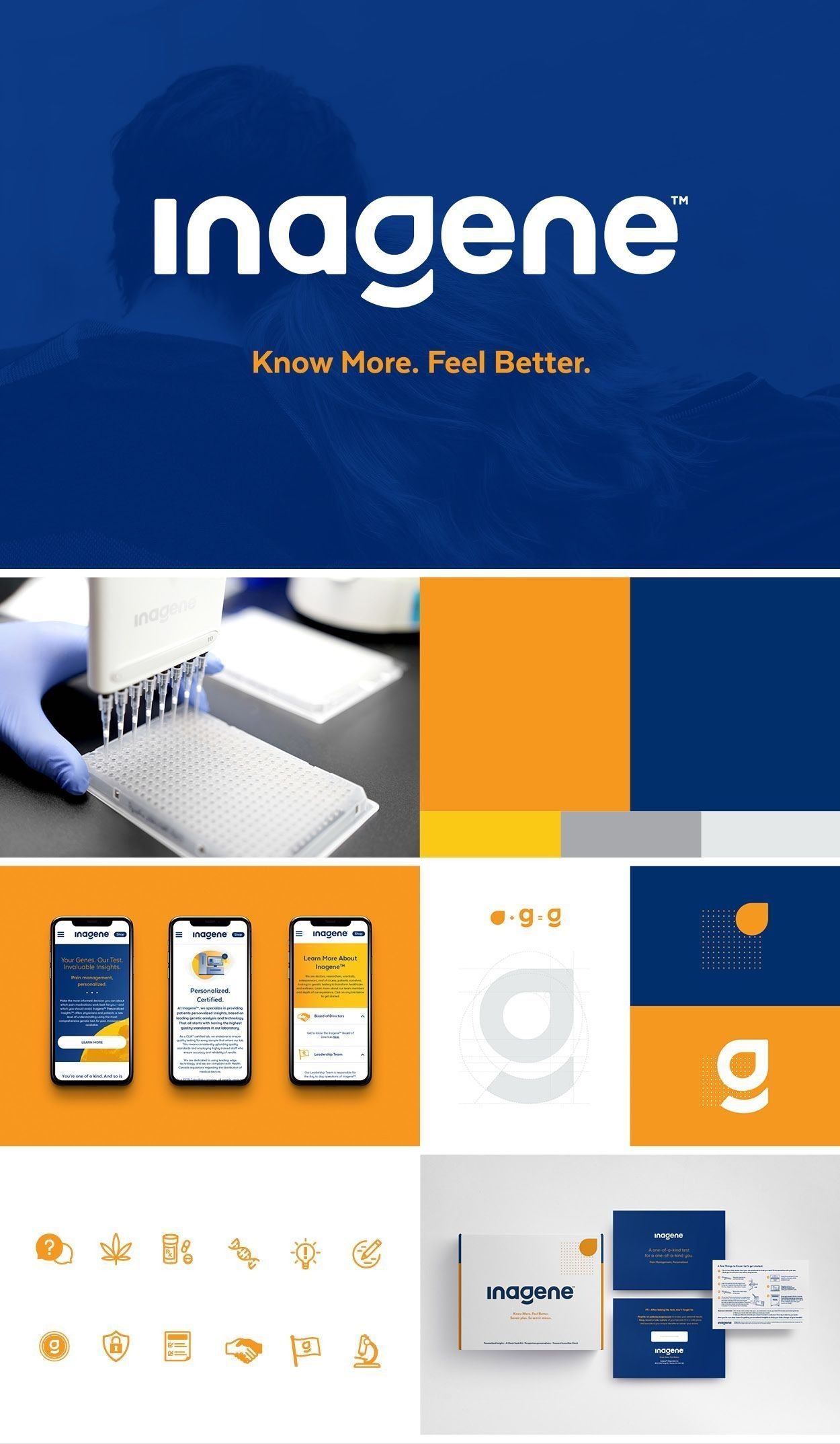 An idea concept that represents blue and orange color palette, font pairing, style of illustrations and photos, and logo