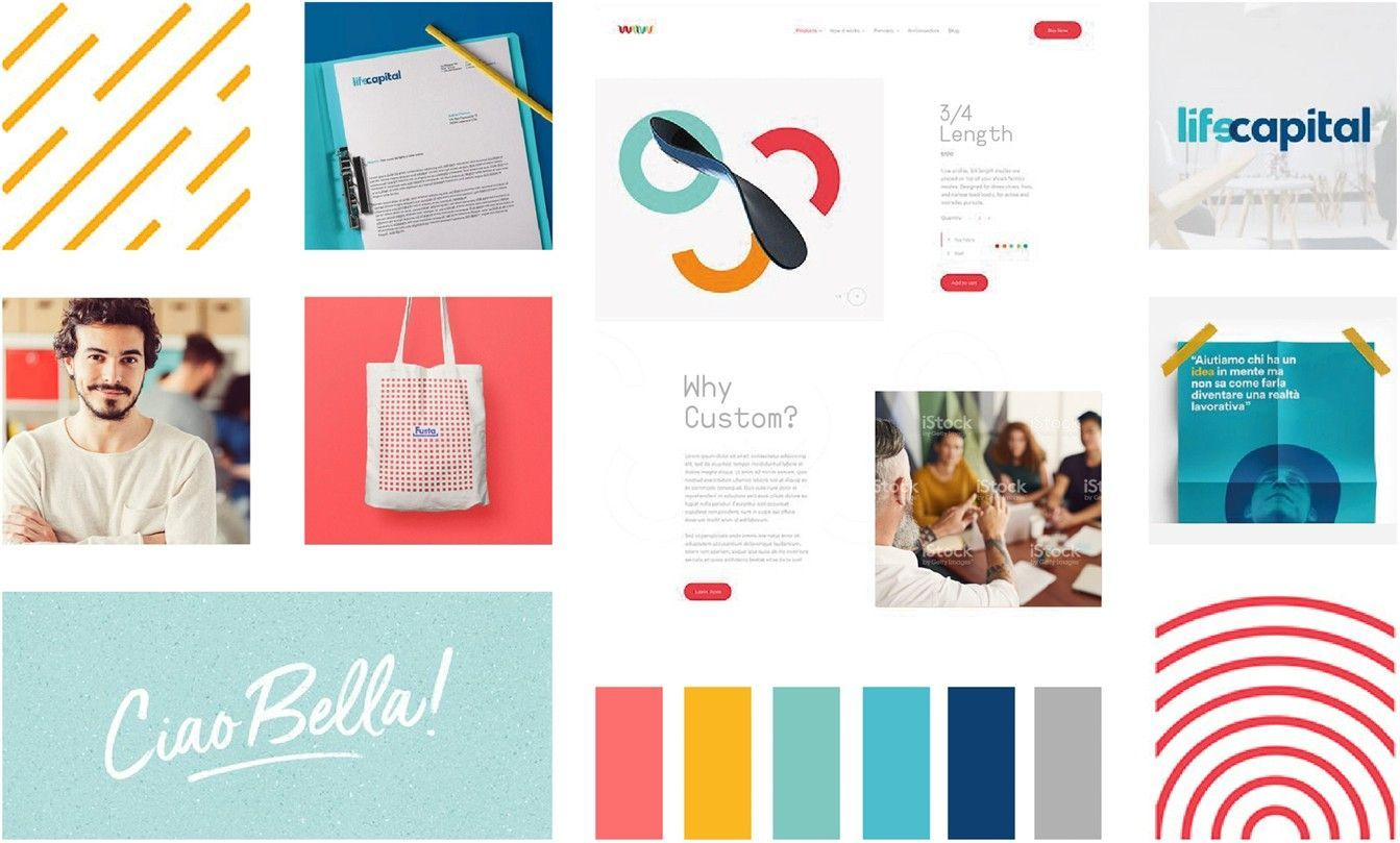 A mood board that represents teal color palettes, patterns, font combinations, photos, and illustrations