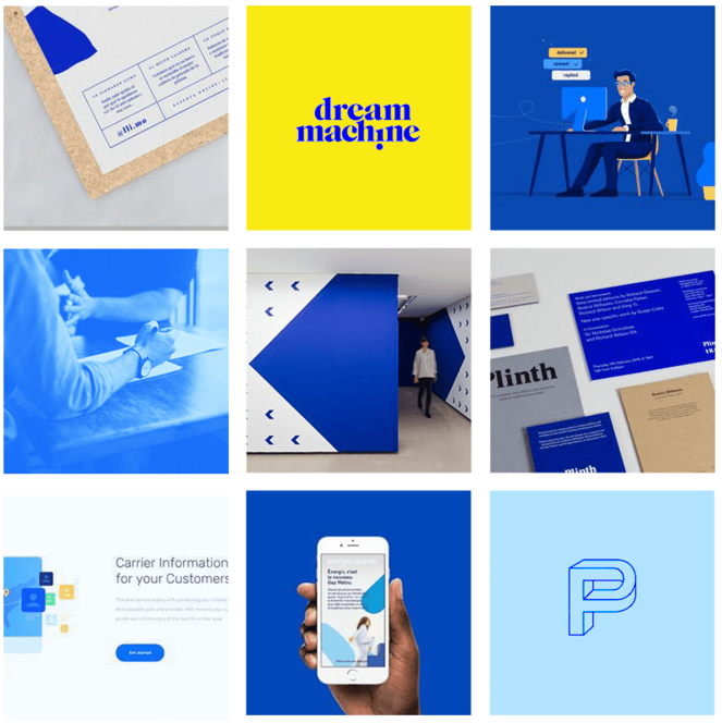 A mood board that represents blue color palettes, patterns, font combinations, photos, and illustrations