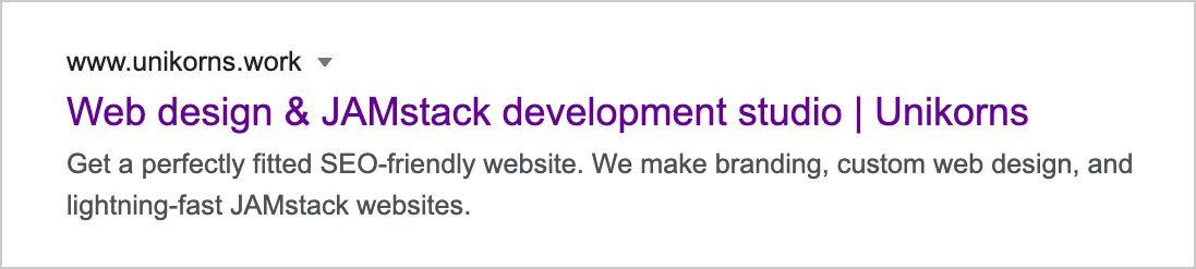 screenshot that represents meta description of Unikorns showcase page
